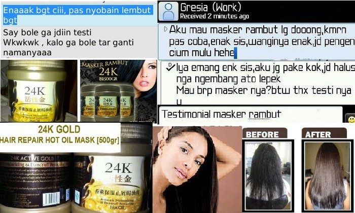 ... HAIR MASK Ailin Source · MASKER RAMBUT 24K ACTIVE GOLD REPAIR HOT OIL 500ML