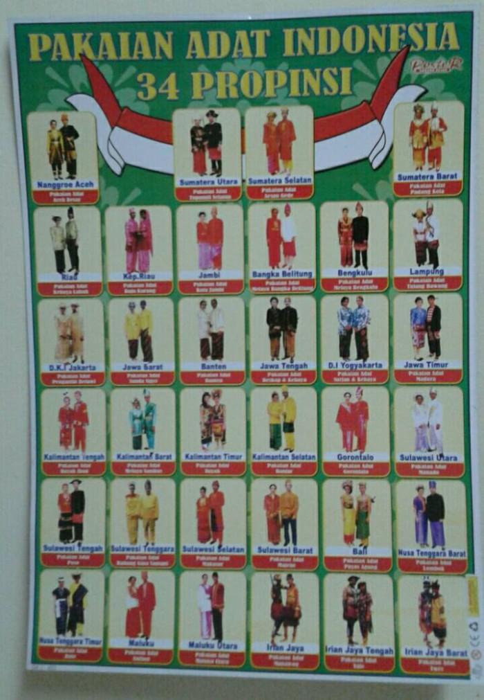 Jual Mainan Poster Edukasi Pakaian Adat Indonesia 34 Propinsi Kota Bekasi Rean Shoop Tokopedia