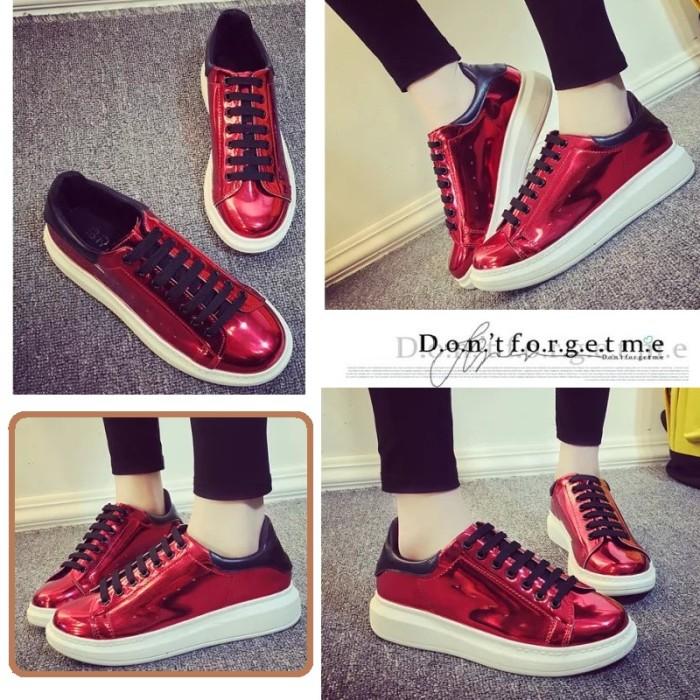 harga Sepatu sneakers platform korea glossy merah import Tokopedia.com