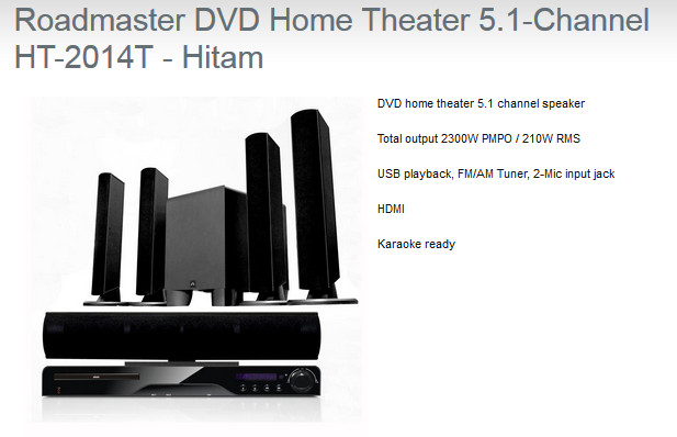 Roadmaster DVD Home Theater 51 Channel HT 2014T