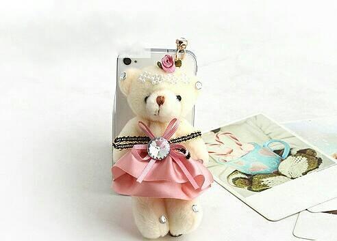 harga Korean teddy bear dress pink pluggy / dustplug / gantungan hp Tokopedia.com