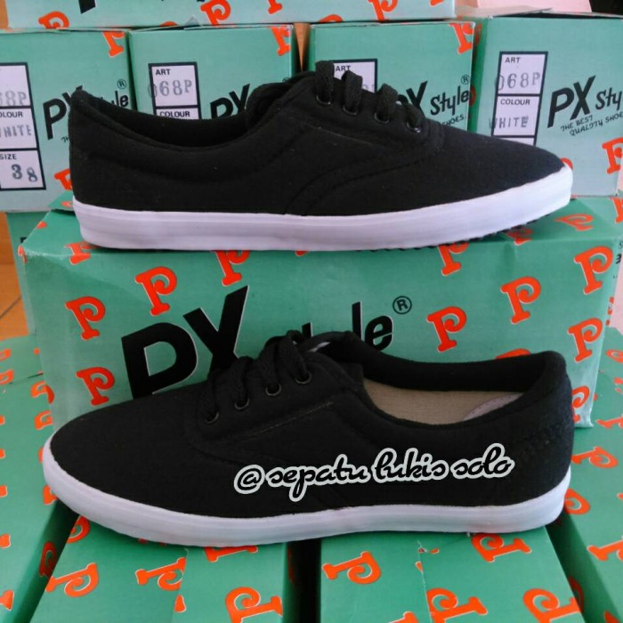 Sepatu kanvas polos tali hitam sepatu lukis solo px style ...