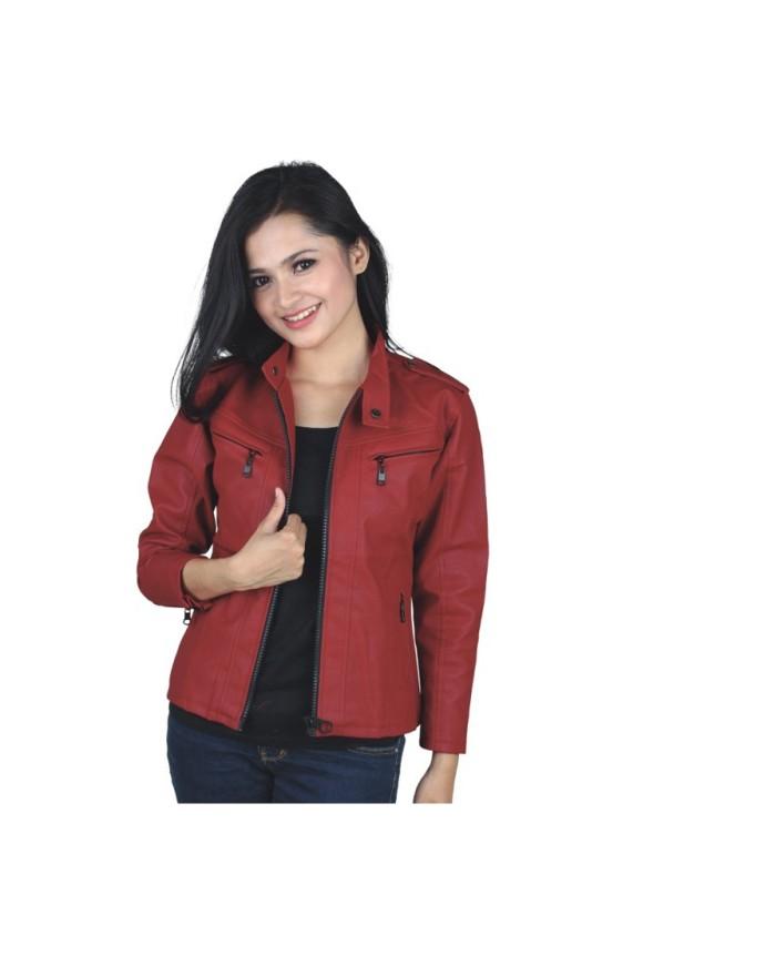 Jaket motor wanita kulit synth   jaket cewek semi kulit ctz. 213502a85f