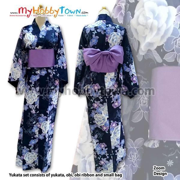 harga Yukata/kimono wanita : black purple rose Tokopedia.com