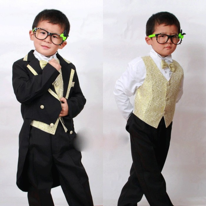 harga Jas anak laki tuxedo hitam+gold  celana rompi dasi ikat pinggang Tokopedia.com