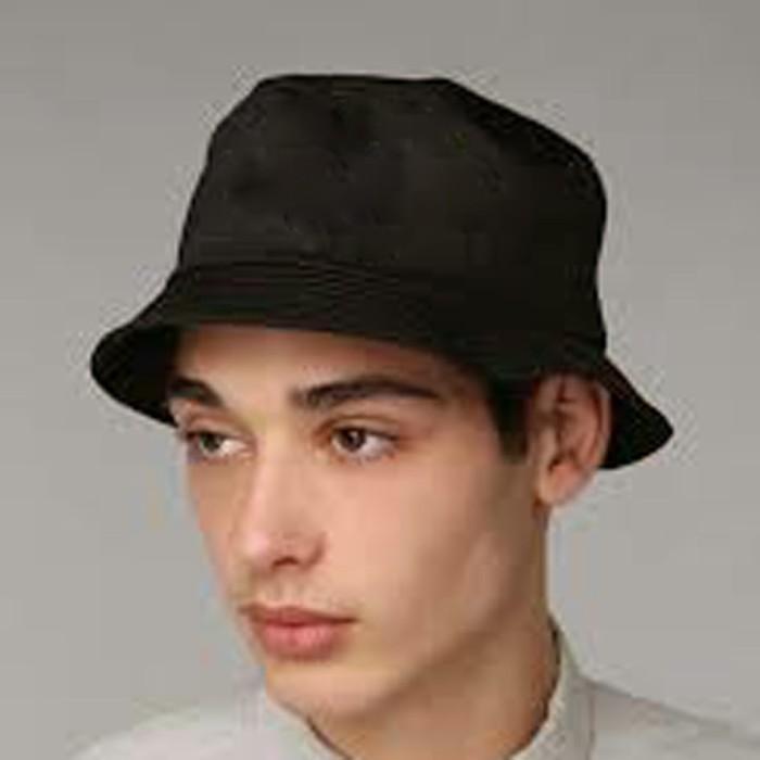1faeecea43a topi bucket hat hitam polos distro bahan dobel bolak ba Berkualitas