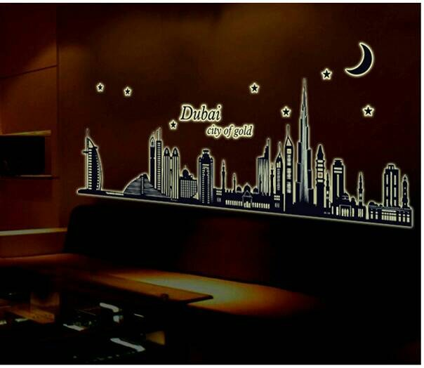 jual wallsticker dubai city glow in the dark/ kota/ gedung/ siluet