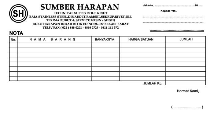 Jual Nota Kwitansi Surat Jalan Baitaisyah Tokopedia