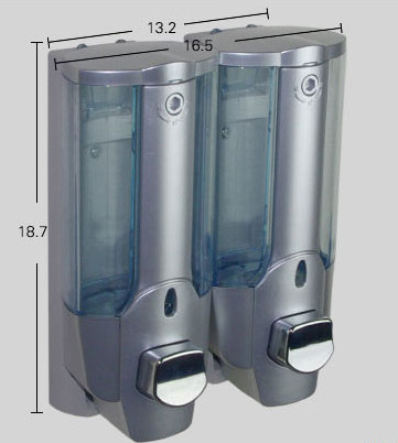 harga Silver double dispenser sabun manual touch chrome grey shampoo shower Tokopedia.com