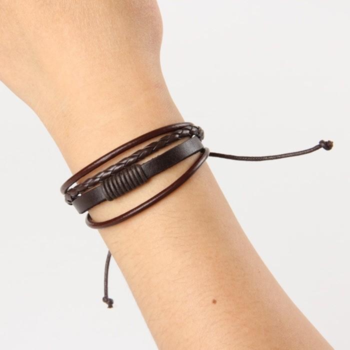 Gelang Kulit Pria Gelang Cowok Multilayer Adjustable Warna Dark Brown