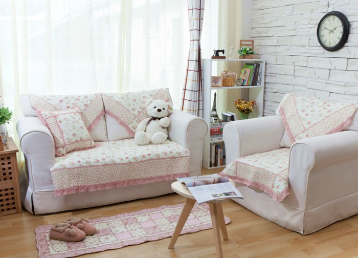 Quilting Sofa Cover Small Pink Flower