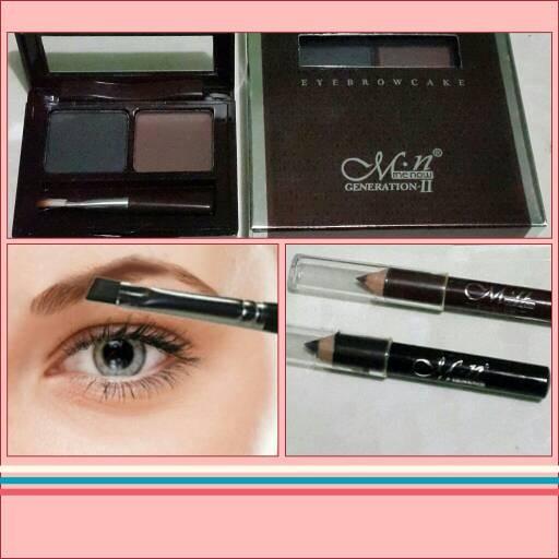 Jual Mn Eyebrow Cake Powder Free Eyeliner Pencil 2pcs Grosir Laris Tokopedia