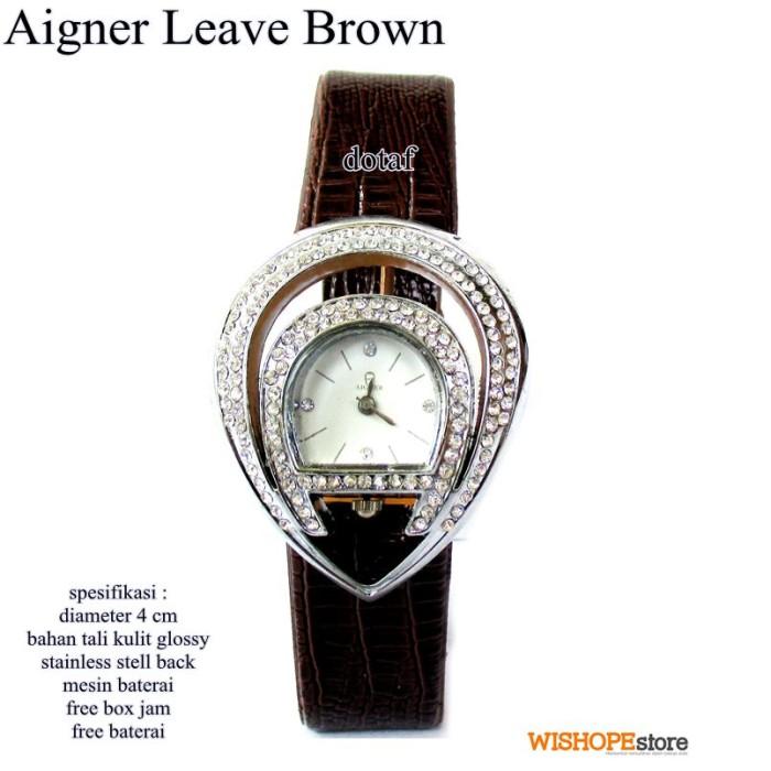 jam tangan wanita kulit glossy agner leave full set brown