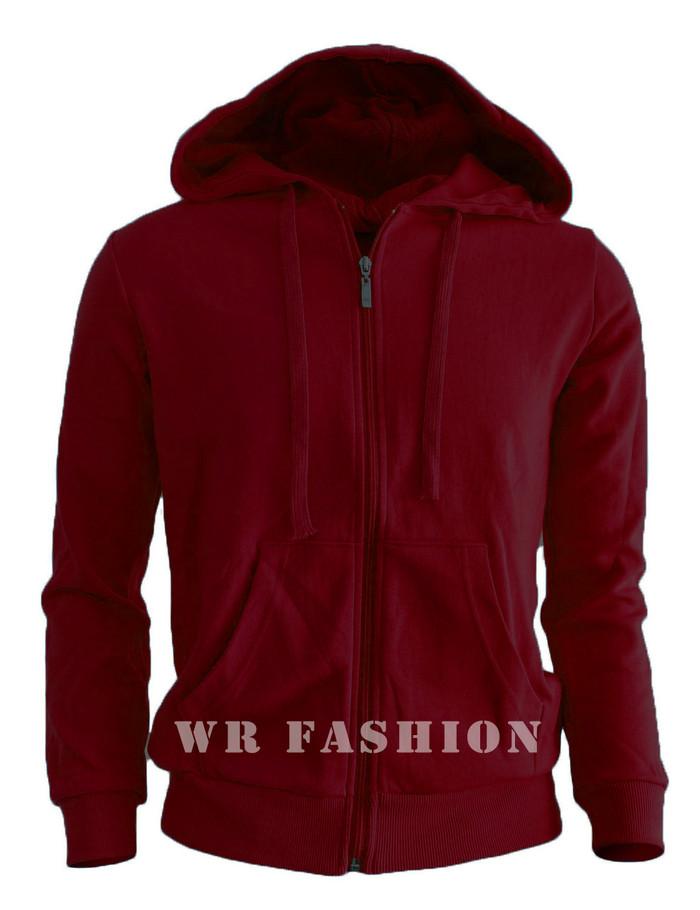 Jaket Sweater Polos Hoodie Zipper Merah Marun - Maroon, M