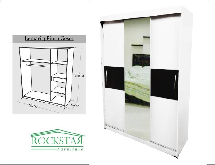 harga Lemari pakaian hpl+kaca sliding 3 pintu putih strip hitam Tokopedia.com