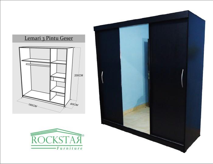 harga Lemari pakaian hpl+kaca sliding 3 pintu hitam Tokopedia.com