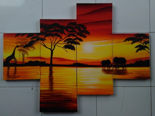 Jual Lukisan Pemandangan Senja Kota Denpasar Lukis Denpasar