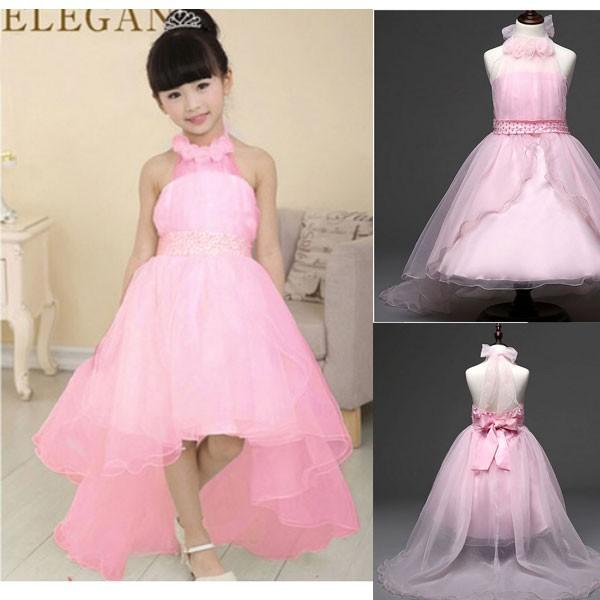 Jual Gaun Pesta Anak Warna Pink Depan Pendek Belakang Panjang M
