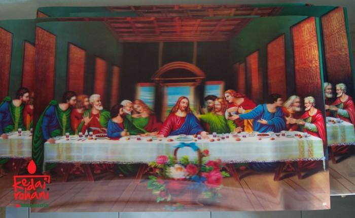 harga Lukisan 3 dimensi  perjamuan terakhir / last supper  40x60cm Tokopedia.com