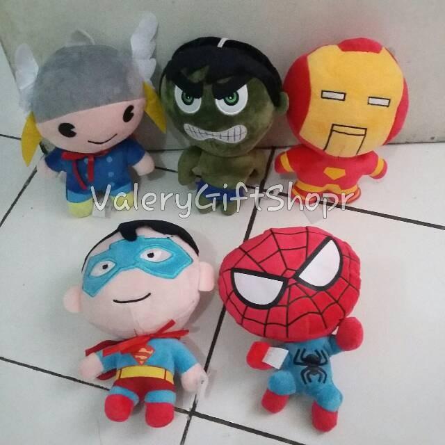 harga 1 set boneka superhero thor hulk iron man superman spiderman Tokopedia.com