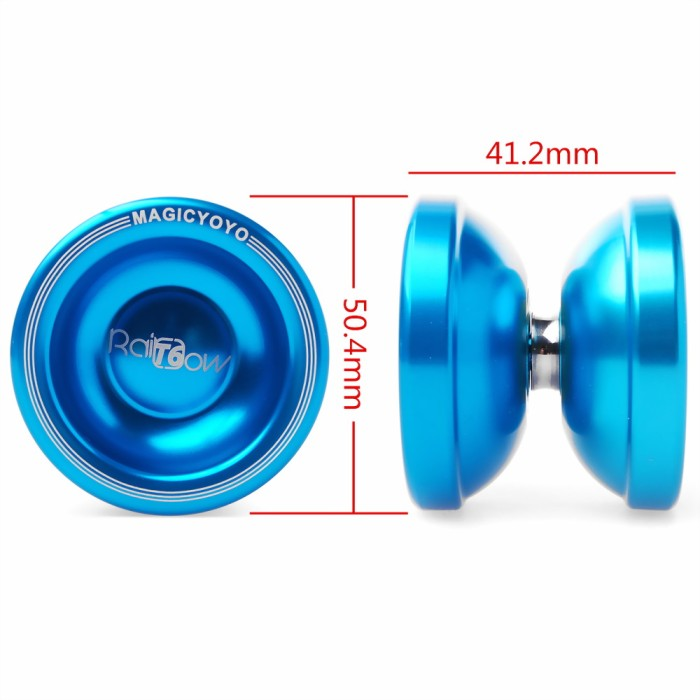 ball yoyo. th004. magic yoyo t6 rainbow ball clutch trick alloy biru, metal