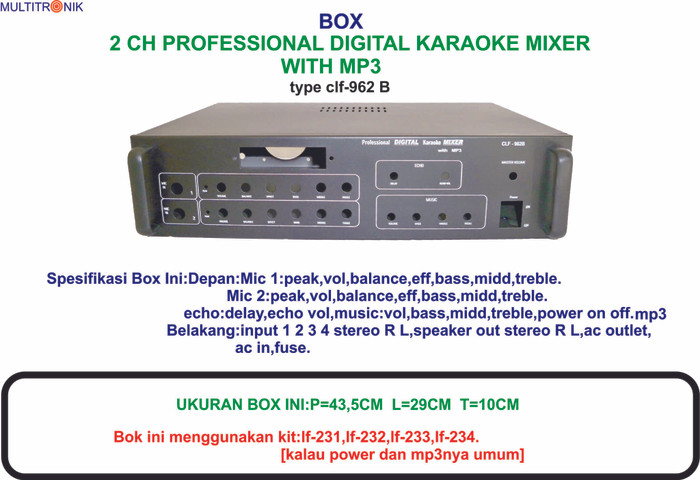 harga Box 2 ch professional digital karaoke mixer  plus mp3 clf 962b Tokopedia.com