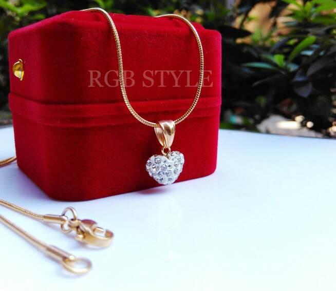 harga Kalung titanium liontin bola permata love gold cewek wanita Tokopedia.com