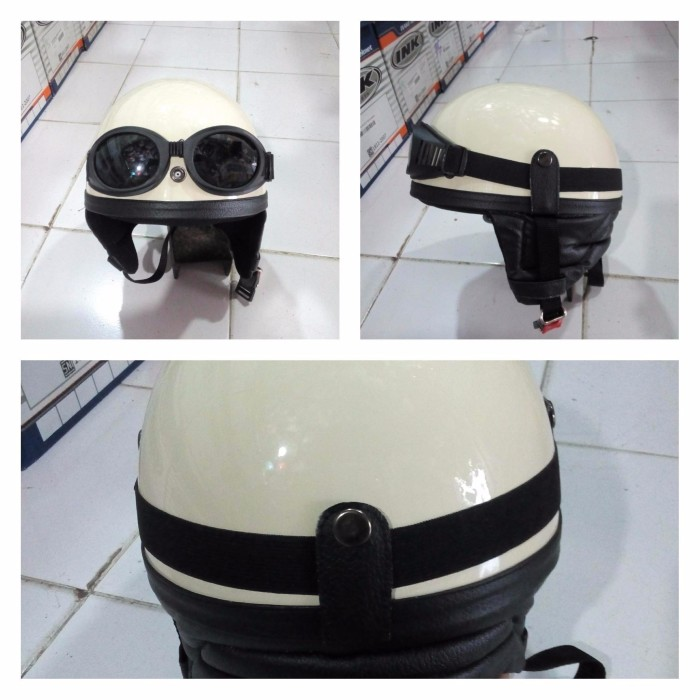 Helm retro Chips Kupingan New Cream 1