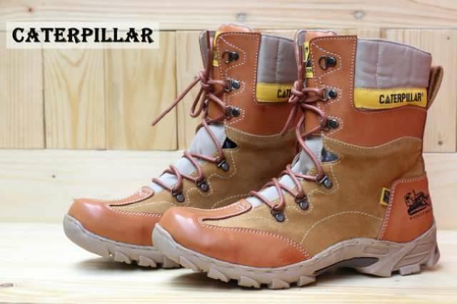 Sepatu boot caterpillar safety high black / brown ...