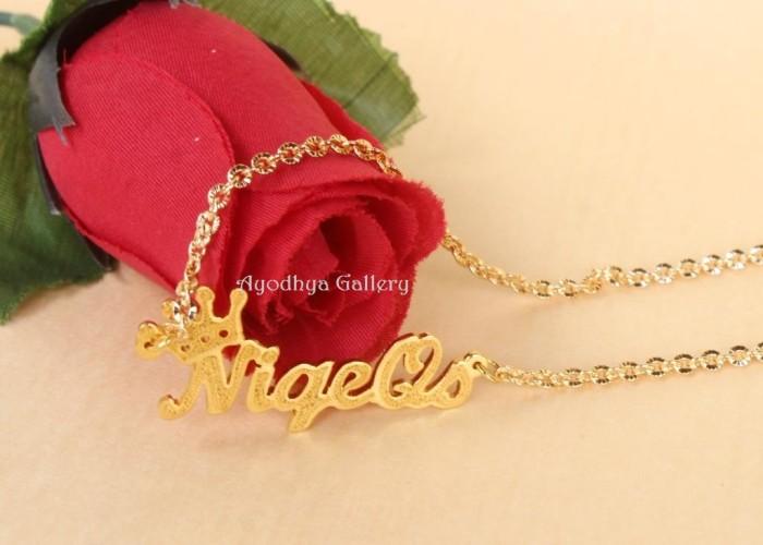 harga Kalung nama lapis emas grafir mahkota - perhiasan nama Tokopedia.com