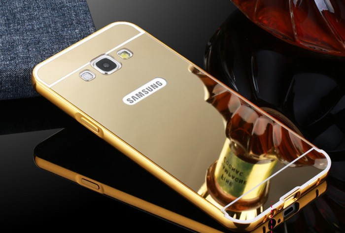 Case Mirror Metal Bumper Sliding Samsung Galaxy Note Edge / N9150 - Emas