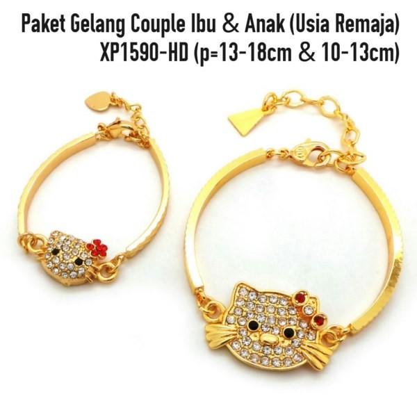 Paket gelang couple Hello kitty ibu + anak lapis perhiasan emas XP1590