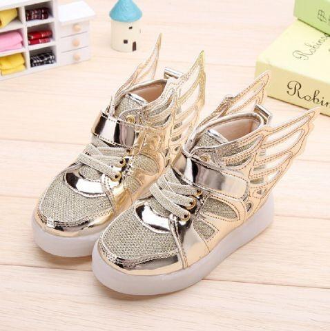 Sepatu anak perempuan / sepatu kets lampu led wings gold 21-25