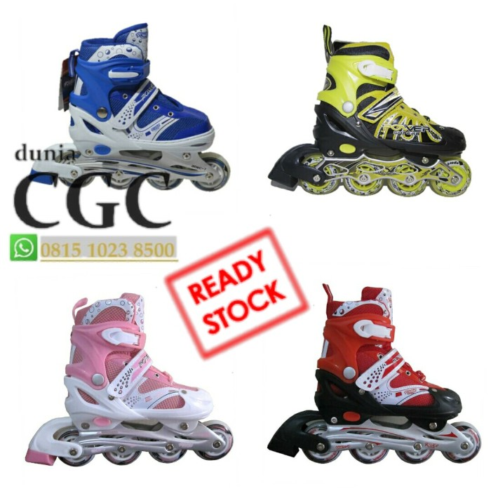 harga Power sepatu roda inline skate bajaj pink biru merah ungu kuning promo Tokopedia.com