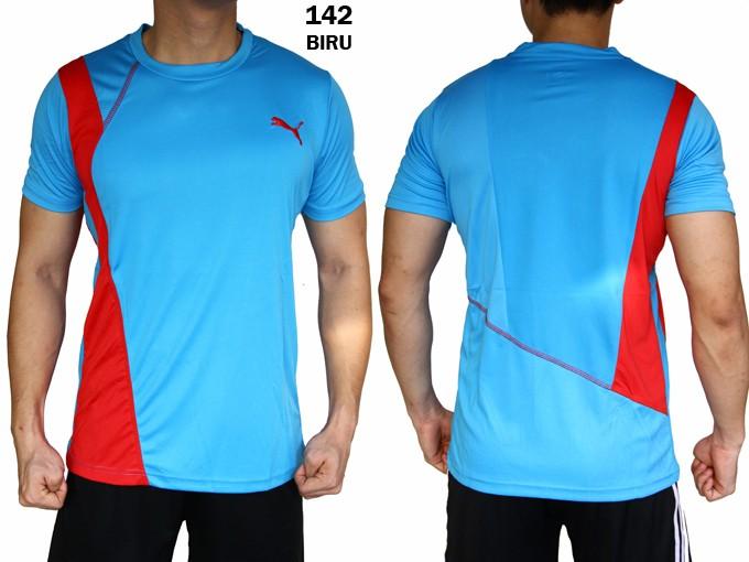 harga Kaos puma 142 biru [ baju olahraga fitness gym cowok grosir murah Tokopedia.com