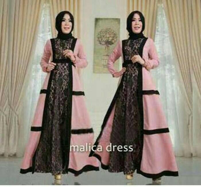 harga Malica dress/baju muslim long dress/gamis murah/set hijab Tokopedia.com