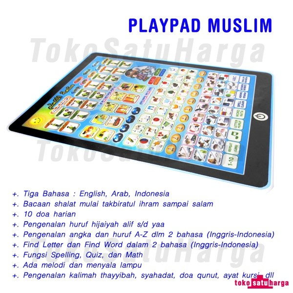 ... Playpad Muslim 3 Bahasa Lampu LED Anti Gores Free Baterai & Bubble