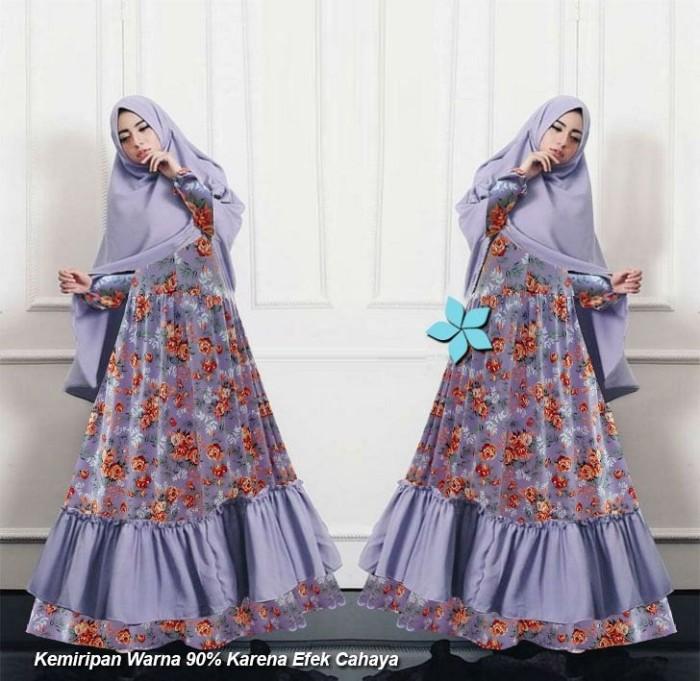 Jual Baju Muslim Terbaru Gamis Motif Bunga Mawar Syari Set Busui Xl