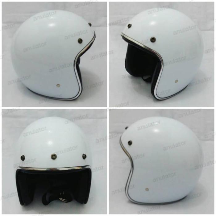harga Helm half face/cafe racer/japstyle/retro/model bogo putih merona Tokopedia.com