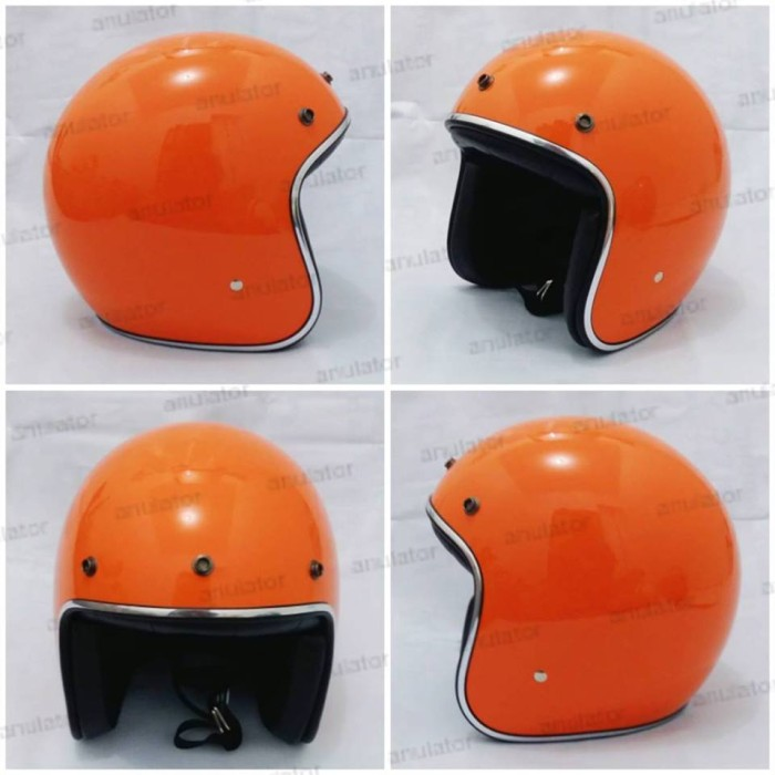 harga Helm half face/cafe racer/japstyle/retro/bogo orange mengkilat belanda Tokopedia.com