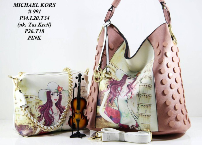 b84681282e3c1 Tas MK Michael Kors Hobo Lukis Stud set 2in1 .