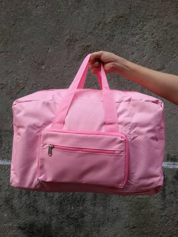 PROMO Tas travel bag koper lipat jadi kecil pink polkadot titik