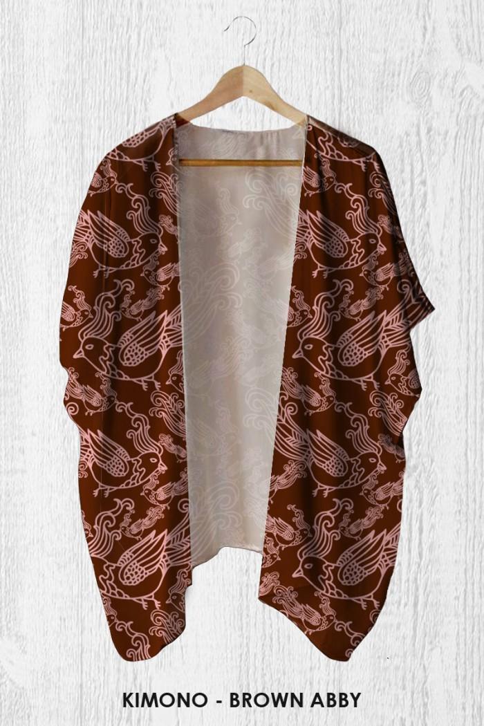 Foto Produk Cardigan Batik Wanita - Kimono Outer Brown Abby dari LittleLikz