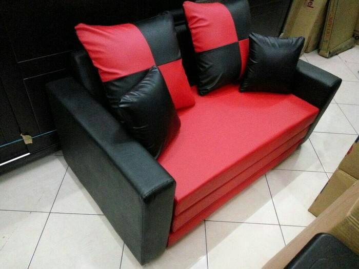 Jual Sofa Bed Perpaduan Oscar Merah Hitam Kab Bandung Aqila