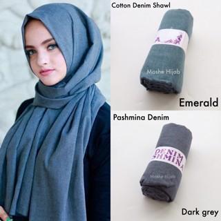 Jual Jilbab Pashmina Katun Denim Kota Tangerang Selatan Moshe Hijab Tokopedia