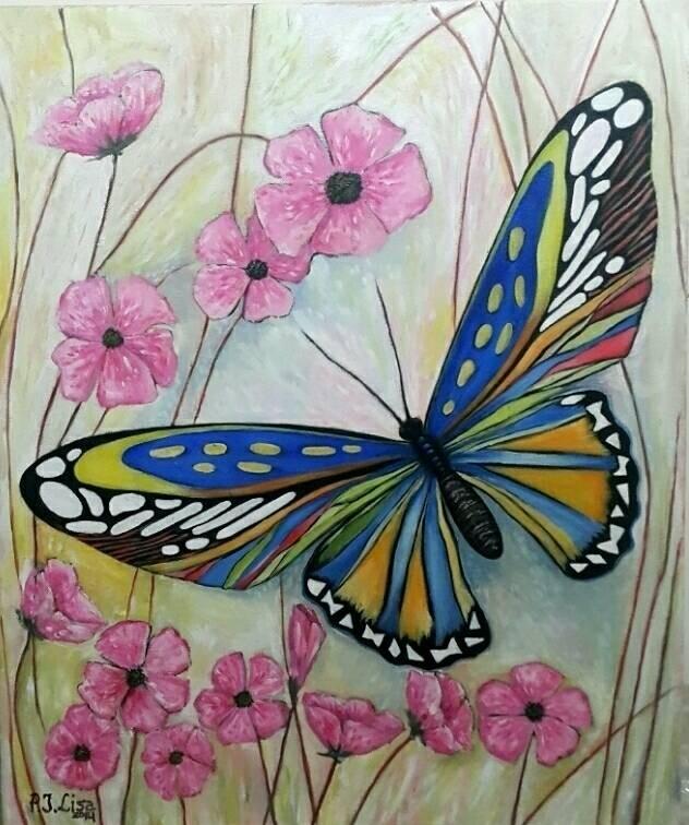Jual Lukisan Kupu Kupu Dan Bunga Jakarta Barat Lizahobbyhobby Tokopedia