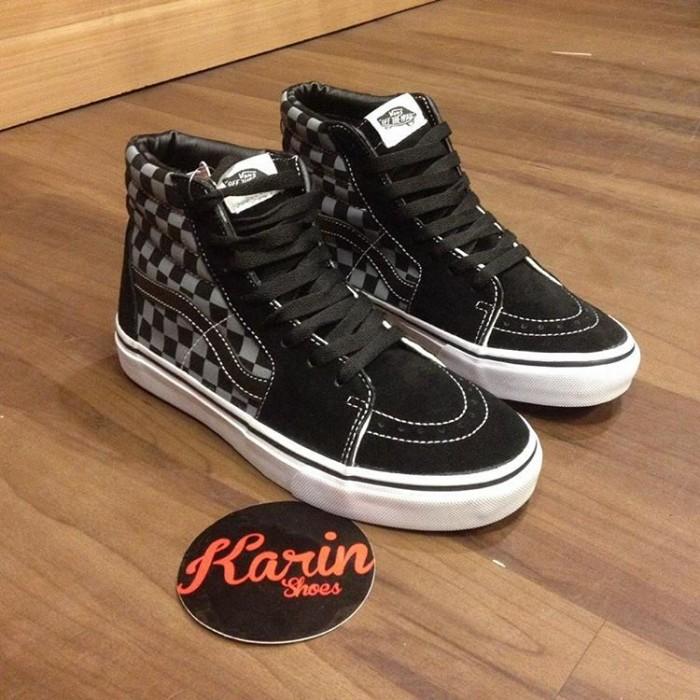 Jual VANS SK8HI CHECKERBOARD BLACK GREY PREMIUM IFC   sepatu vans ... 73fef623e