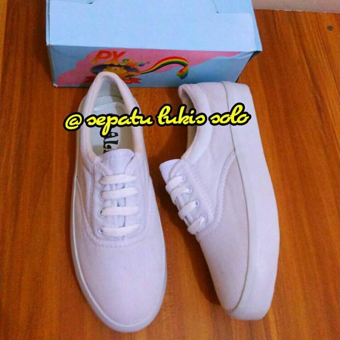Semi wedges sepatu kanvas polos tali putih px style ...