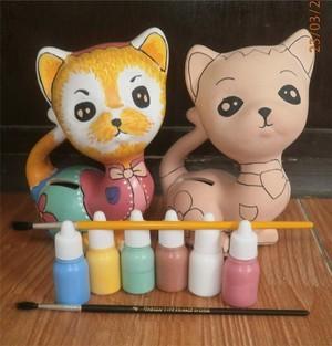 Jual Mainan Edukasi Unik Mewarnai Patung Celengan Keramik Kucing