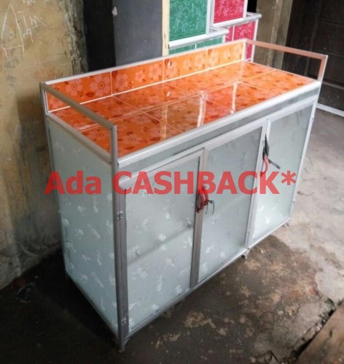 Meja Dapur Kompor 3 Pintu Rak Piring Model Rata